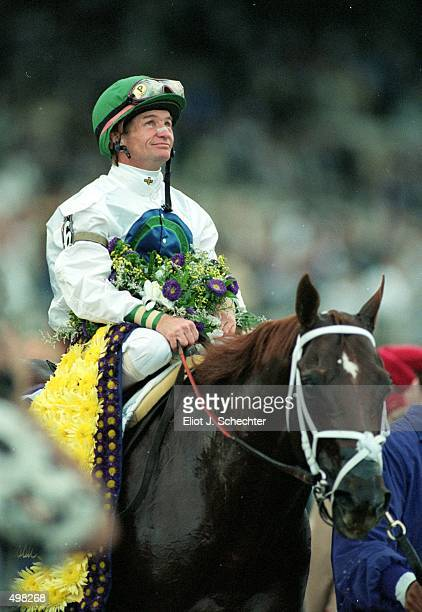 Jockey Pat Day sits ontop of Cat Thief after winning the Breeders Cup Classic during the Breeders Cup at Gulf Stream Park in Hallandale Florida