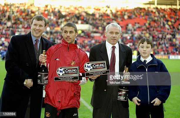 Kevin Phillips and Peter Reid of Sunderland are presented with the respective Player and Manager of the Month Awards for October before the FA...