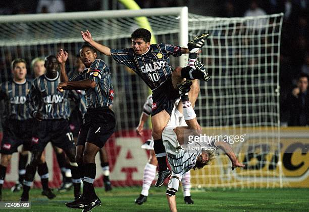 Mauricio Cienfuegos of the Los Angeles Galaxy jumps to kicks the ball against the Dallas Burn during the MLS Western Conference Final at the Rose...