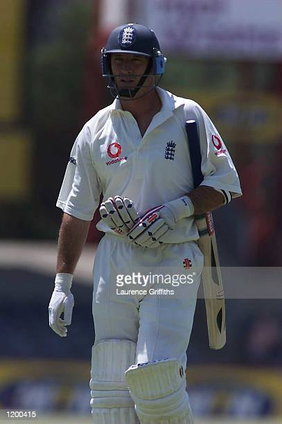 Nasser Hussain of England walks to the pavillion after Herman Bakkes of Free State had taken his wicket during the four day game between England and...