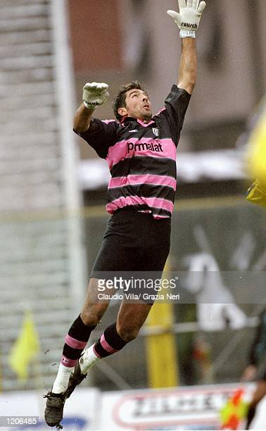 Parma keeper Gianluigi Buffon in action against Cagliari during the Serie A match at the Stadio Tardini in Parma Italy Mandatory Credit Claudio Villa...