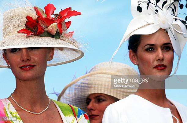 Racing fans display the latest in spring fashion on Oaks Day traditionally Ladies Day held at Flemington Racecourse Melbourne Australia Mandatory...