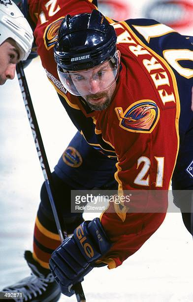 Ray Ferraro of the Atlanta Thrashers gets ready for the face off during a game against the Buffalo Sabres at the Marine Midland Arena in Buffalo, New...