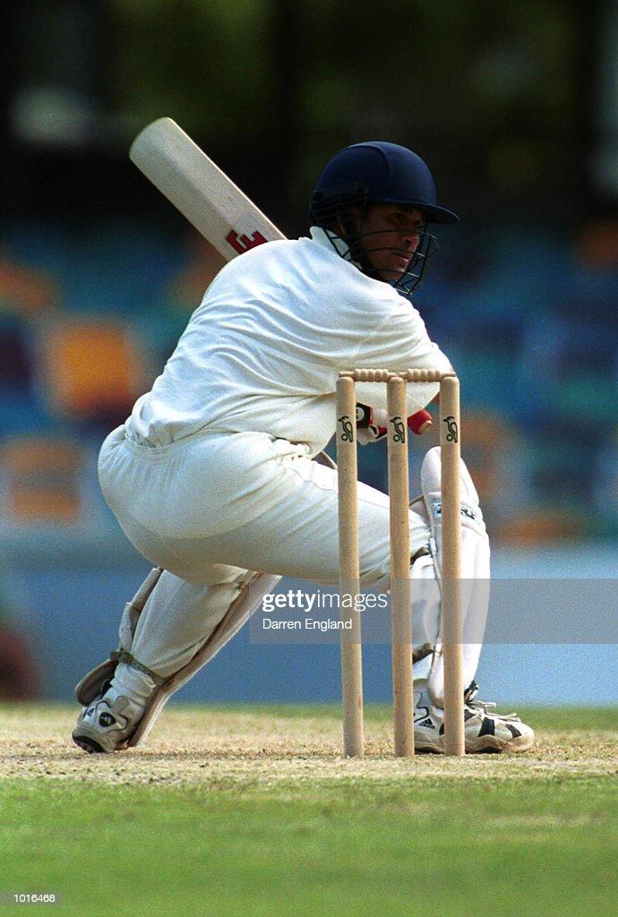 Sachin Tendulkar of India in action against Queensland at the Gabba Cricket Ground in Brisbane. Mandatory Credit: Darren England/ALLSPORT