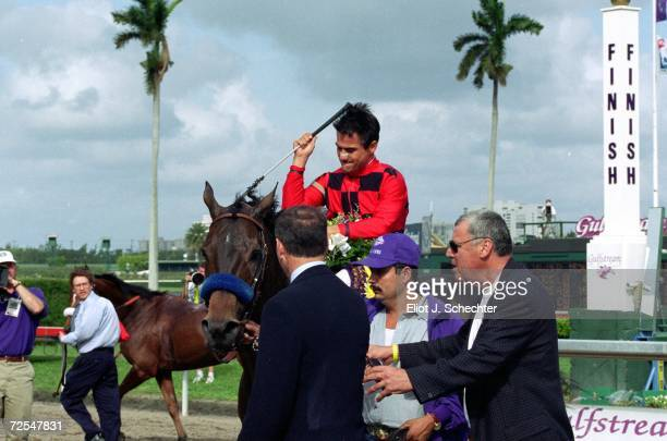 Silic ridden by Corey Nakatani walks to the winners circle after the Mile during the Breeders Cup at the Gulfstream Park in Hallandale Beach Florida...