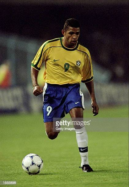 Sonny Anderson of Brazil in action during the International Friendly against Spain played at the Estadio Balaidos in Vigo, Spain. The game finished...