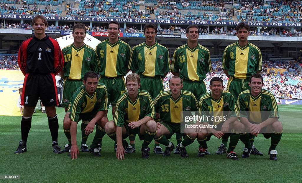 The Australia Socceroos line up before the friendly soccer game against Brazil played at Stadium Australia, Homebush, Sydney, Australia. Brazil won 2-0. Mandatory Credit: Robert Cianflone/ALLSPORT