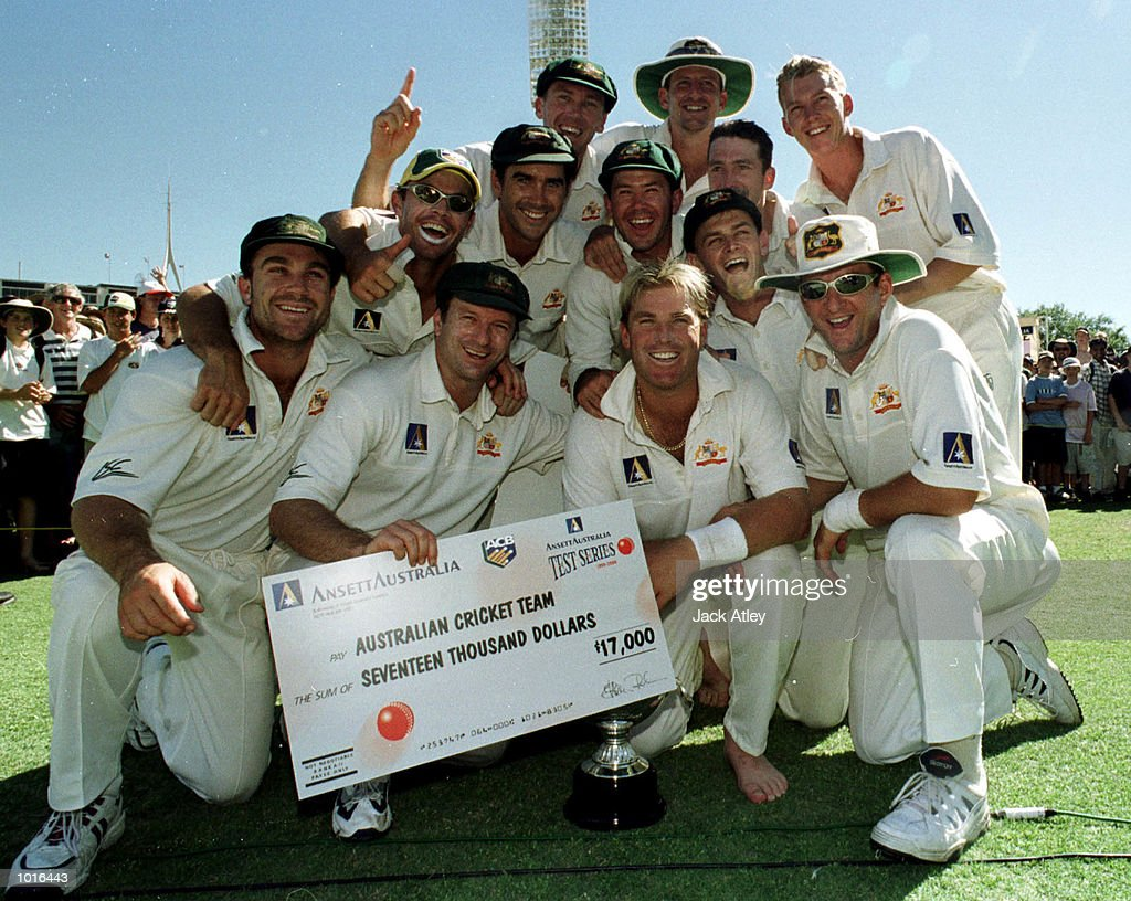 The Australian cricket side pose for a team photograph after their 3 - 0 series win over Pakistan on day three of the third test played between Australia and Pakistan at the WACA ground in Perth, Western Australia, Australia. Mandatory Credit: Jack Atley/ALLSPORT