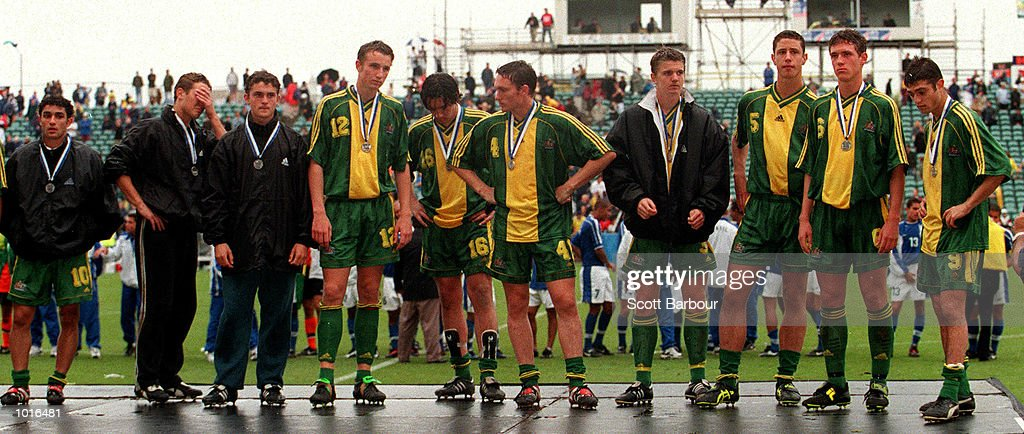 The Australian Joey's team line up for the medals after losing to the Brazi in the Under 17's World Cup in New Zealand, Auckland New Zealand. Mandatory Credit: Scott Barbour/ALLSPORT