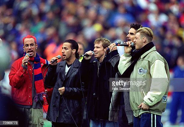 The singing group Backstreet Boys perform during the halftime during a game against the Miami Dolphins and the Buffalo Bills at the Ralph Wilson...