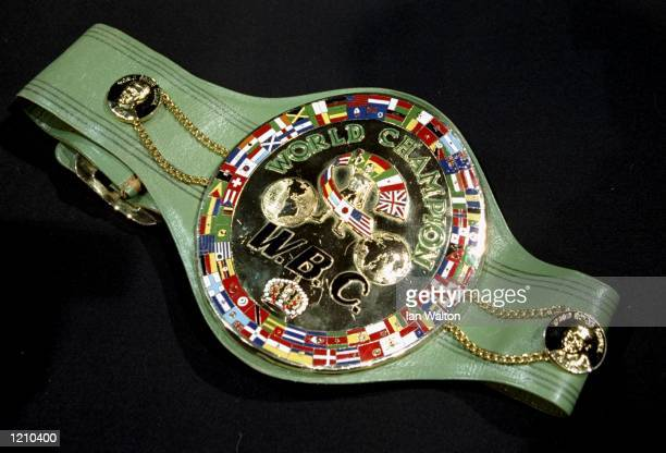 The WBC Belt on display as Lennox Lewis gives a press conference at the Cafe de Paris in London after defeating Evander Holyfield to become the...