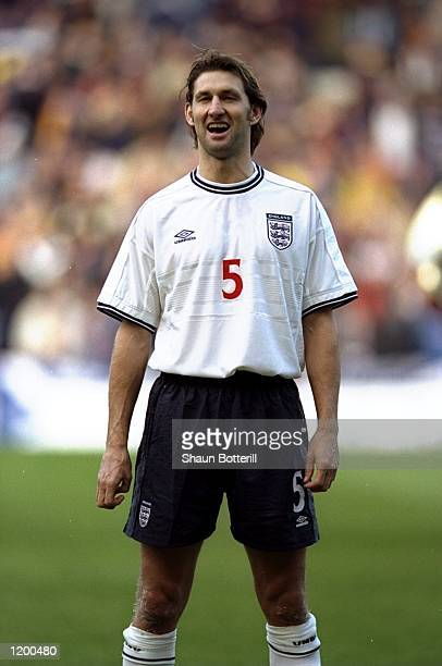 Tony Adams of England sees the funny side against Scotland during the Euro 2000 playoff first leg match at Hampden Park in Glasgow Scotland England...