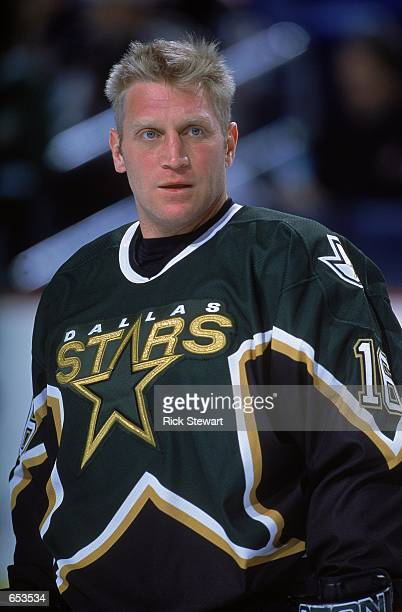 A close up of Brett Hull of the Dallas Stars as he stand on the ice looking on before the game against the Buffalo Sabres at the HSBC Arena in...