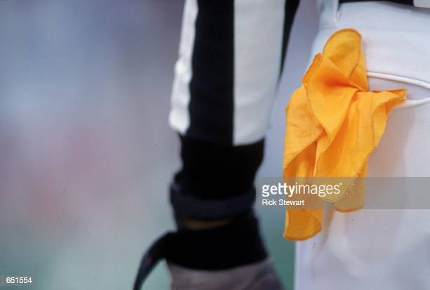 A close up view of the referee flag taken during the game between the Buffalo Bills and the Chicago Bears at Ralph Wilson Stadium in Orchard Park New...