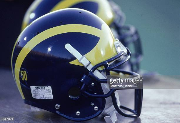 A general view of the Michigan Wolverines helmet during the game against the Northwestern Wildcats at the Ryan Field in Evanston Illinois The...