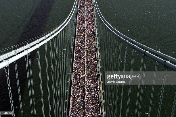 A general view of the start of the 2000 New York City Marathon as the runners cross the VerrazanoNarrows Bridge in New York New York Mandatory Credit...