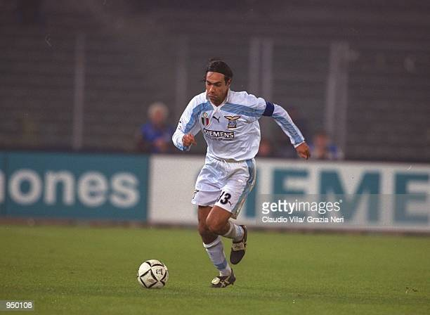 Alessandro Nesta of Lazio in action during the Italian Serie A match against Juventus played at the Stadio Delle Alpi in Turin Italy The match ended...