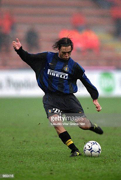Alvaro Recoba of Inter Milan passes the ball during the Italian Serie A match against Lecce played at the San Siro, in Milan, Italy. Lecce won the...