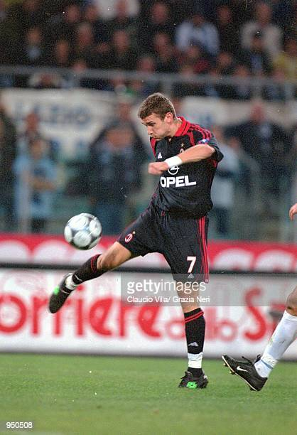 Andrei Shevchenko of AC Milan has a shot at goal during the Italian Serie A match against Lazio played at the Stadio Olimpico in Rome Italy The match...