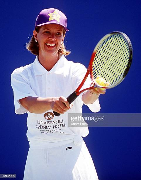 Anne Fullwod in action during the Starlight Foundation Tennis charity event held at the Sydney International Tennis Centre in Sydney Australia...