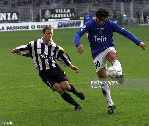 Cristian Diaz of Udinese and Alessandro Del Piero of Juventus in action during the Udinese v Juventus Serie A match played at the Delle Alpi Stadium...