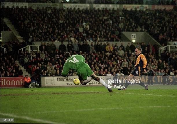 Danny Murphy of Liverpool scores during the Worthington Cup fourth round match against Stoke City played at the Britannia Stadium, in Stoke, England....