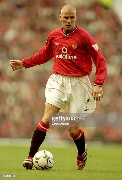 David Beckham of Manchester United in action during the FA Carling Premiership match against Middlesbrough at Old Trafford in Manchester England...