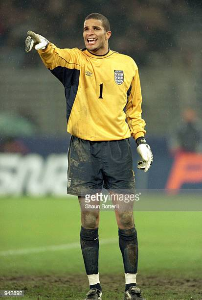 David James of England organises his defence during the International Friendly match against Italy played at the Stadio Delle Alpi, in Turin, Italy....