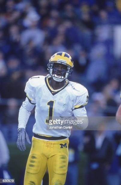 David Terrell of the Michigan Wolverines moves on the field during the game against the Northwestern Wildcats in Evanston Illinois The Northwestern...