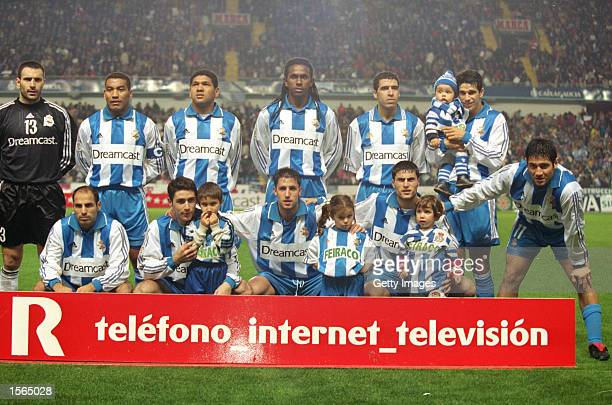 Deportivo La Coruna team lineup before the Spanish Primera Liga match against Celta Vigo played at the Estadio Municipal de Riazor in La Coruna Spain...
