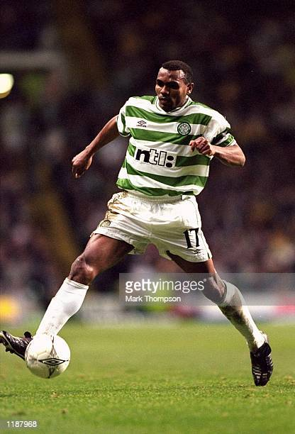 Didier Agathe of Celtic on the ball during the UEFA Cup second round second leg match against Bordeaux at Celtic Park in Glasgow Scotland Bordeaux...