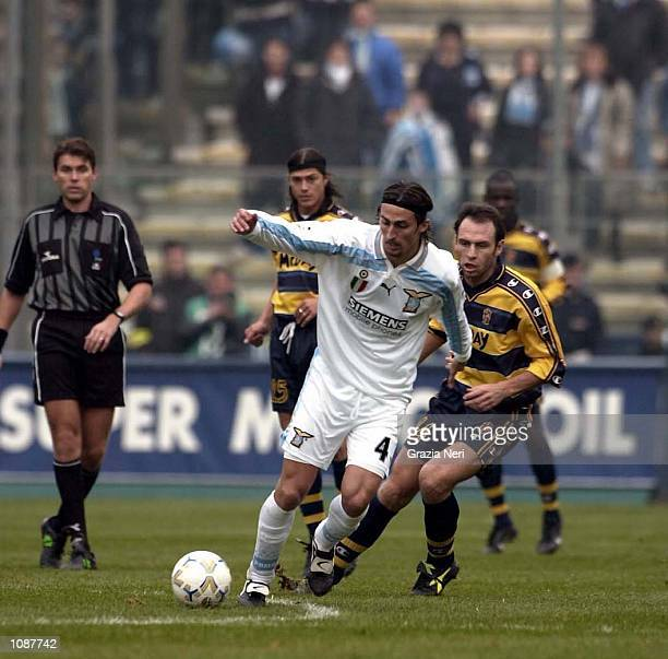 Dino Baggio of Lazio holds onto the ball during the match between Parma v Lazio in the Serie A played at the Tardini Stadium, Parma, Italy. + DIGITAL...