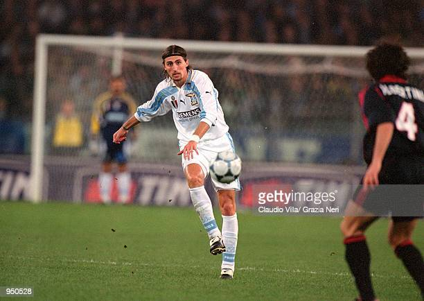 Dino Baggio of Lazio in action during the Italian Serie A match against AC Milan played at the Stadio Olimpico in Rome Italy The match ended in a 11...