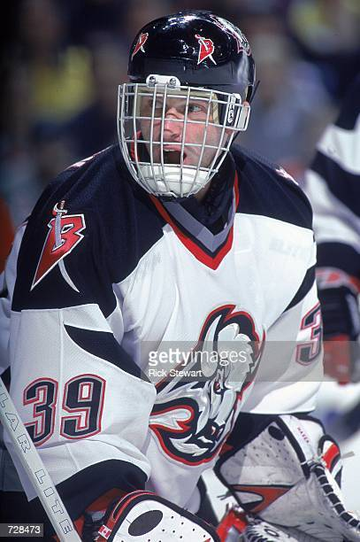 Dominik Hasek of the Buffalo Sabres looks on during the game against the Monteal Canadiens at the HSBC Arena in Buffalo, New York. The Sabres...