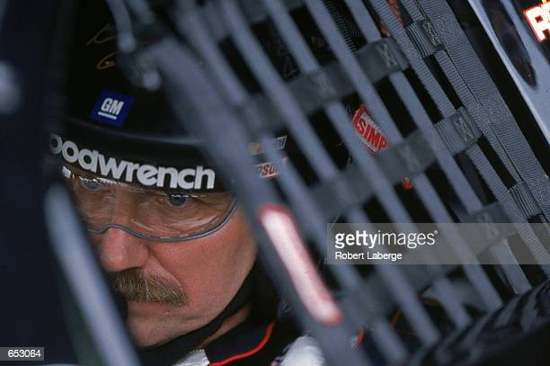 Driver Dale Earnhardt who drives the Chevrolet Monte Carlo for Richard Childress Racing focuses on the race during the Checker Auto Parts/Dura Lube...
