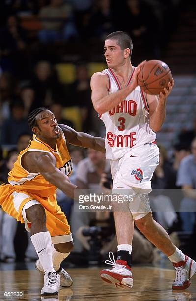 Dwayne Toatley of the Valparaiso Crusaders gaurds Sean Connolly of the Ohio State Buckeyes gaurds him during the Great Alaska Shootout at the Sulivan...