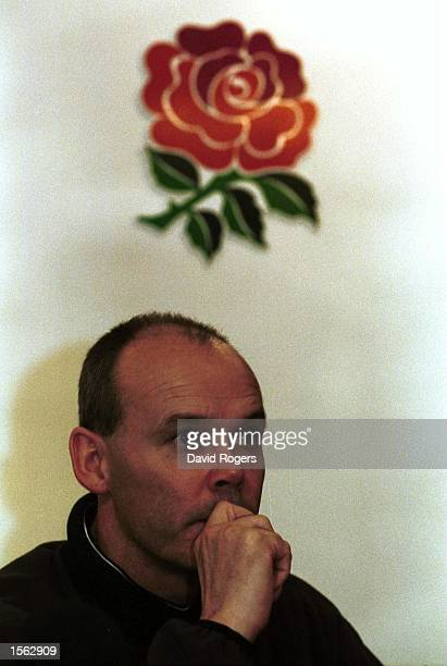 England Coach Clive Woodward talks to the Press during a England Rugby Union Press Conference in which it was announced the players were striking due...
