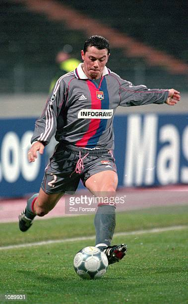 Eric Deflandre of Lyon in action during the UEFA Champions League match against Bayern Munich played at the Olympic Stadium in Munich Germany Bayern...