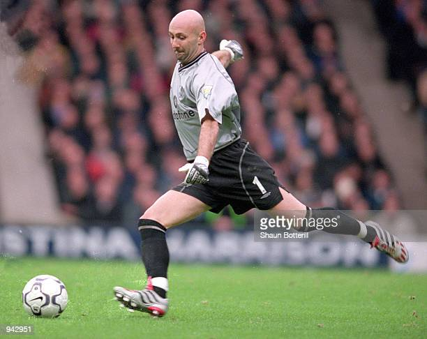 Fabien Barthez of Manchester United kicks the ball out during the FA Carling Premiership match against Manchester City played at Maine Road in...