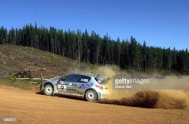 Francoise Delecour in the Peugeot 206 in action during day two of the Telstra Rally Australia which is part of the FIA World Rally Championships...