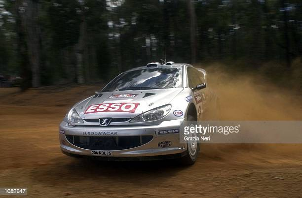 Francoise Delecour in the Peugeot 206 in action on through stage three during leg one of the Telstra Rally Australia which is part of the FIA World...