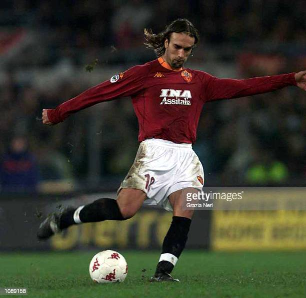 Gabriel Omar Batistuta of Roma in action during the Serie A 8th Round league match between Roma and Fiorentina played at the Olimpico stadium in...