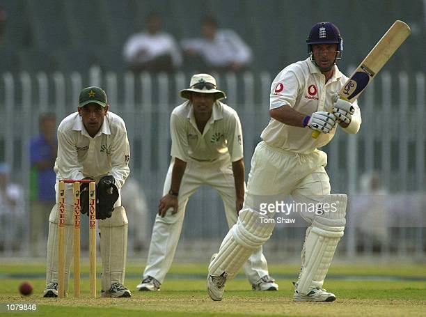 Graham Thorpe of England hits out during the Patrons XI v England 4 day tour match at the Pindi Stadium, Rawalpindi, Pakistan. Mandatory Credit: Tom...