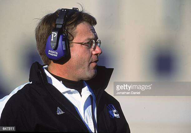 Head Coach Randy Walker of the Northwestern Wildcats watches the action during the game against the Michigan Wolverines at the Ryan Field in...