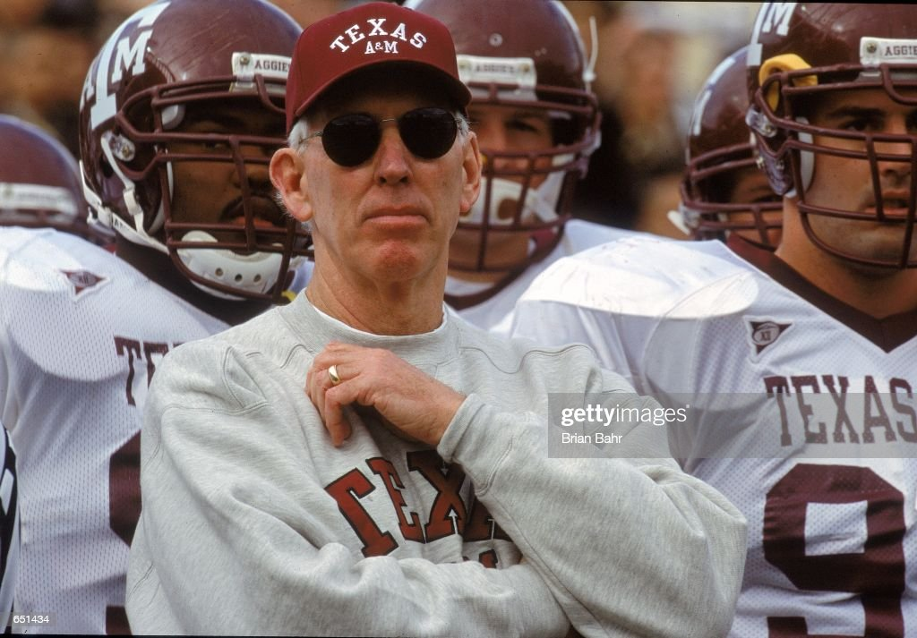 Head Coach R.C. Slocum of the Texas A&M Aggies watches the action from the sidelines during the game against the Texas Longhorns at the Royal Memorial Stadium in Austin, Texas. The Longhorns defeated the Aggies 43-17.Mandatory Credit: Brian Bahr /Allsport