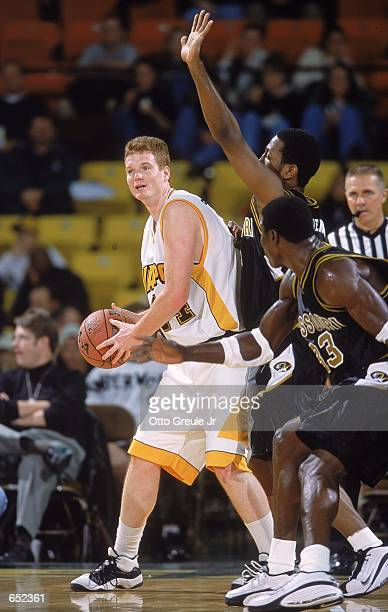 Jason Jenkins of the Valparaiso Crusaders looks to pass the ball during the Great Alaska Shootout against the Missouri Tigers at the Sullivan Arena...