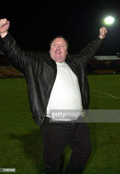 Jeff King manager of Canvey Island after the win in the FA Cup first round replay between Port Vale and Canvey Island at the Vale Park ground Stoke...