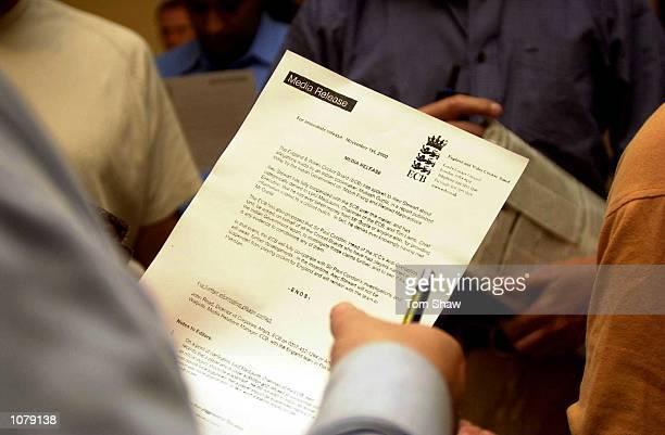Journalists read a press release regarding England cricketer Alec Stewart at the Pearl Continental Hotel, Rawalpindi, Pakistan. Mandatory Credit: Tom...