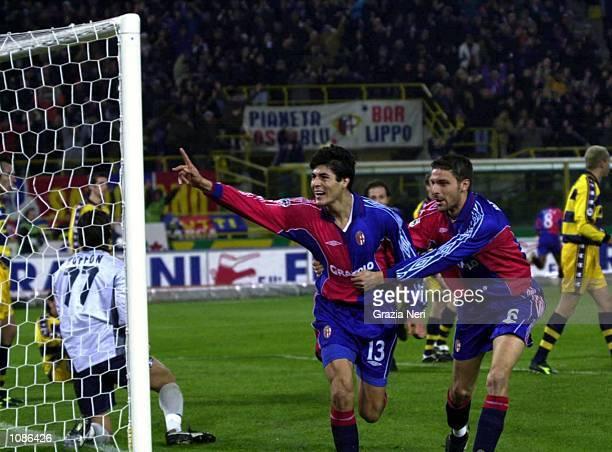 Julio Riccardo Cruz and Emanuele Brioschi of Bologna celebrate after scoring a goal during the Serie A 7th round league match between Bologna vs...