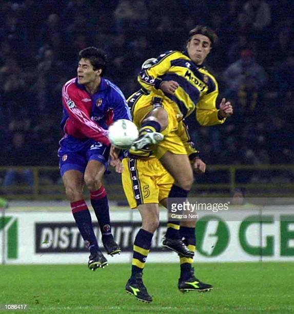Julio Riccardo Cruz of Bologna and Fabio Cannavaro of Parma challenge for the ball during the Serie A 7th round league match between Bologna vs Parma...